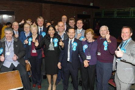 On Thursday, December 12, the General Election took place at Ferneham Hall in Fareham.''Pictured is: Conservative Party candidate Suella Braverman was re-elected as Fareham MP.''Picture: Sarah Standing (121219-3571)