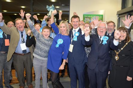 On Thursday, December 12, the General Election took place at Gosport Leisure Centre''Pictured is: Caroline Dinenage celebrate being returned as MP for Gosport with her Conservative team at the Leiasure Centre''Picture: Steve Reid (121219-1450)