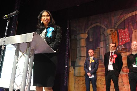 Conservative Party candidate Suella Braverman delivers her victory speech after being re-elected as Fareham MP.