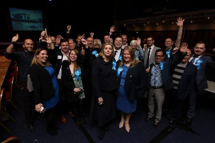 Portsmouth North MP Penny Mordaunt surrounded by supporters and next to Donna Jones who lost her bid to be Portsmouth South MP. Picture: Habibur Rahman