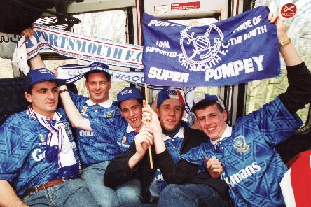 En route to the 1992 FA Cup semi-final against Liverpool at Arsenal's Highbury stadium