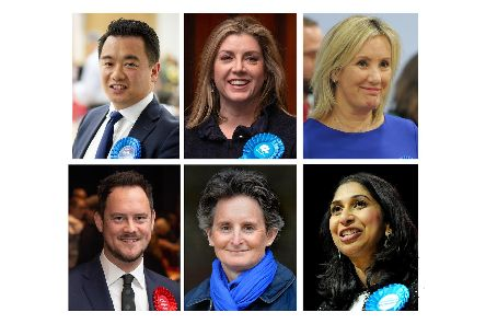 Clockwise from top left, Conservatives Alan Mak in Havant, Penny Mordaunt in Portsmouth North, Gosport's Caroline Dinenage, Suella Braverman in Fareham, the Meon Valley's Flick Drummond and Labour Portsmouth South MP Stephen Morgan