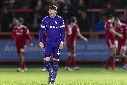 Ronan Curtis looks dejected after Pompey's 4-1 defeat at Accrington on Saturday. Picture: Daniel Chesterton/phcimages.com