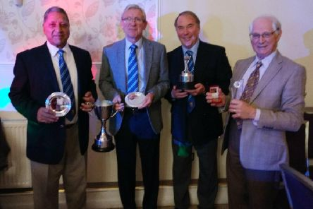Recipients of awards for the seniors  at Whitefields Golf Club presentation evening last Saturday were (from left) Karl Kooner, Ken Reay, Stephen Edwards and Laurie Jones.