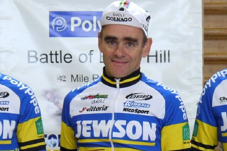 Mike Twelves (pictured last season) won the first round of the Percy Stallard national road race series