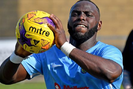 Scorer Dominic Perkins throws in for Rugby Town in Saturday's 2-1 win over Desborough