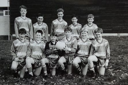 Avon Valley School football team in March 1993. (Back from left) Shaun Rimmer, Ryan ONeill, Matthew Jackson, Lee Preston and Keith Burn.  (Front) Taro Morris, Richard Prestidge, Philip Reed, Gary Pountney, Wayne McLaren and Ben Heffernan