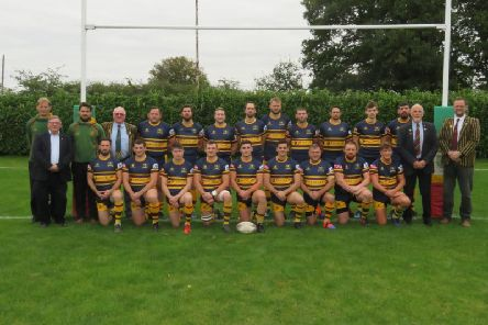 Old Laurentians in their new centenary season kit, lining up last week ahead of their first home league game of the season which saw them beat Pinley 55-0