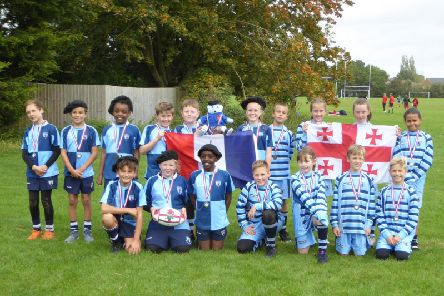 Pupils from St Maries Catholic Primary School at the tag rugby competition in celebration of the Rugby World Cup
