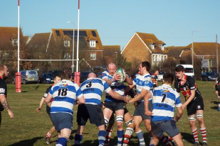 Jimmy Adams gathers the ball at a lineout during Hastings & Bexhill Rugby Club's victory away to Sheppey in its last outing on February 17. Picture courtesy Peter Knight