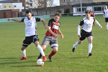 Action from Bexhill United's 1-0 win at home to today's opponents Wick in October's reverse fixture. Picture by Simon Newstead