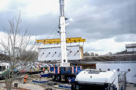 The MRI Suite being lifted into place at Conquest Hospital