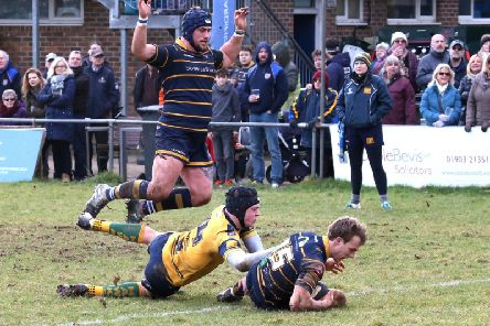 Harry Forrest forces his way over for Worthing Raiders against Henley Hawks. Picture: Warwick Baker