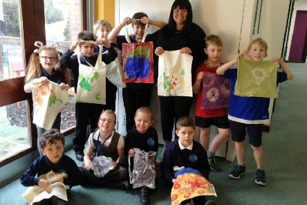 Herons Dale Primary School pupils with some of their colourful creations