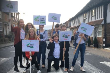 Young people prepare for the Steyning Climate Strike on Friday (September 20)