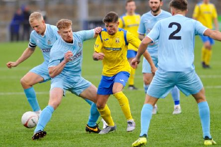 Action from Lancing v Eastbourne Town.
