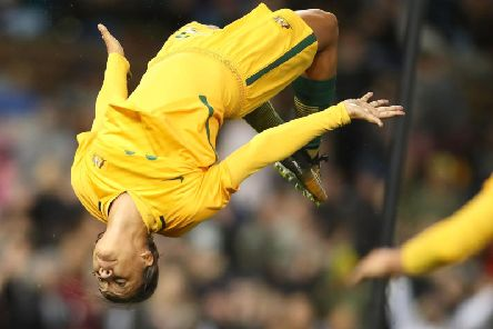 Sam Kerr celebrates a goal during the Women's International match between the Australian Matildas and Brazil in September (Photo by Tony Feder/Getty Images)
