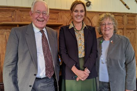The Duchess of Norfolk, Georgina Fitzalan-Howard, with NSPCC South and Mid Sussex branch vice-president Robert Naunton and secretary Rosemary Hannam