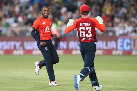 Chris Jordan celebrates a wicket in the second IT20 match v South Africa / Picture: Getty