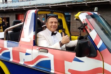 David Walliams from Britain's Got Talent in one of Tim Dutton's amphibious vehicles