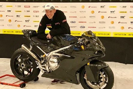 Peter Hickman with the new Norton Motorcycles Superlight. Photo: Clare Freestone.