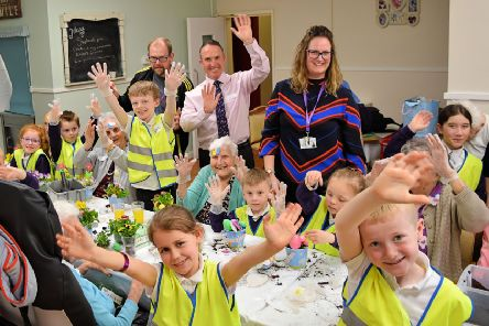 Making table centres was part of the Easter fun at Syne Hills Care Home when pupils from Beacon Primary Academy recently visited.