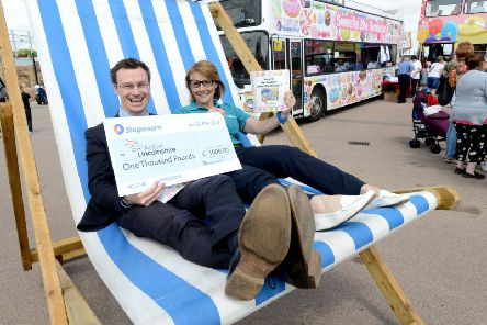 Celebrating the return of the Seasiders family of buses. Matt Cranwell, managing director of Stagecoach East Midlands and Louise O'Reilly from Active Lincolnshire.