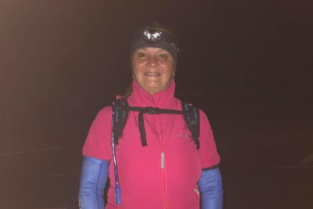 Tina, from Hodkinsons Solicitors, Skegness, during her charity climb at Mount Snowdon.