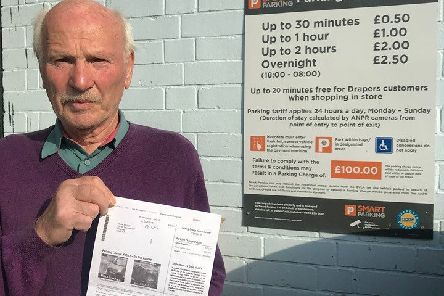 David Marvell with his Parking Notice. ANL-190916-180954001