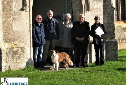 Celebrating the Lottery grant are (from left) Alan Holmes (community project volunteer), Bruce Trewin (community project volunteer) Marion Gray (P.C.C. secretary), the Rev Canon Peter Coates, Christine King (churchwarden)    and 'Mollie the collie'.