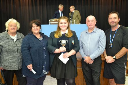 Olivia Loveless, from Sleaford, receiving the Martin Burton Award.
