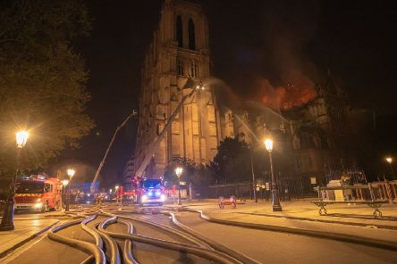 French firefighters at the scene of Monday's fire at Notre Dame cathedral in Paris. Photo: Benoit  Moser / Pompiers de Paris/PA Wire . EMN-190417-155501001