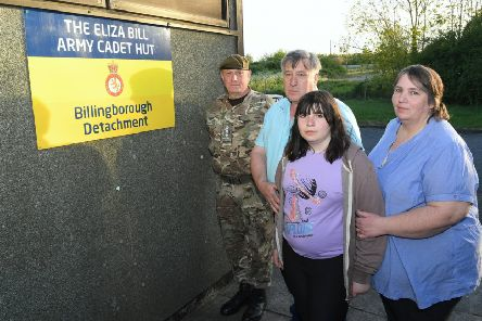 Renaming of Billingborough Army Cadet Hut, to the Eliza Bill Army Cadet Hut, after their member who died in a collision at Osbournby. Bill and Julie Bill with Lilly Bill 11 and Colonel Jeremy Field MBE, outside the cadet hut.