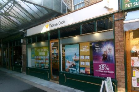 The Thomas Cook travel shop in Bristol Arcade, Sleaford.