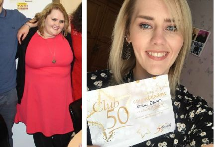 Emily Dawson pictured before her 12 stone weightloss, left, and after - with her Club 50 award. Images supplied.