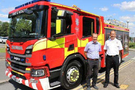 Chief Fire Officer Les Britzman and county council executive member for the fire service, Coun Nick Worth.