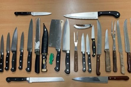 Some of the knives surrendered to police stations during Operation Raptor. EMN-190312-163730001