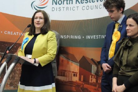 Dr Caroline Johnson accepts the win in Sleaford and North Hykeham for the Tories.