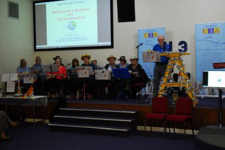 The ukulele music group perform at the U3A showcase. EMN-200202-181843001