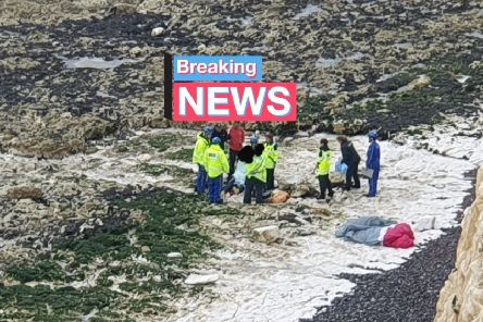 Emergency crews at the scene at Peacehaven. Photo by Daniel Moon