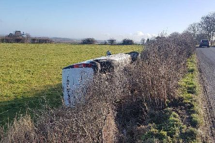 The overturned van on the B2116 in Plumpton on Tuesday (February 19). Photo supplied by Oliver St.John