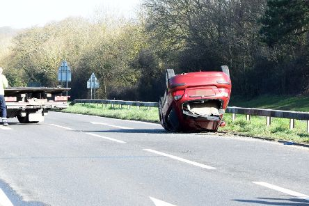 A car overturned in the collision on the A22 Hailsham, photo by Dan Jessup