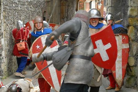 Fighting in the Barbican during the 2014 re-enactment. Photograph by Bob Mayston