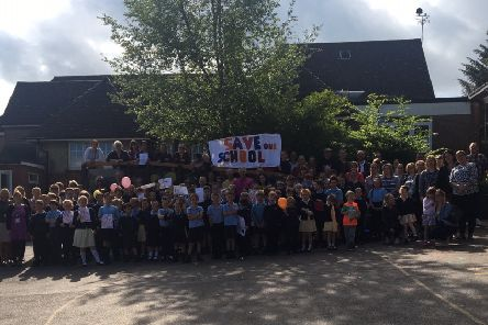 Pupils, parents and staff at Broad Oak Primary School, calling for the school to be saved