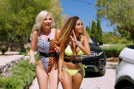 Amy Hart from Worthing and Amber Gill were the first arrivals at the Love Island 2019 villa. Picture: ITV