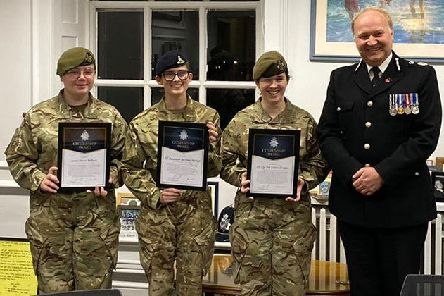 Chief Constable Giles York presents Citizenship Awards to Cpl Mia Leblanc-Brigden, L/Cpl Rio Budd and Cadet Bdr McIntyre