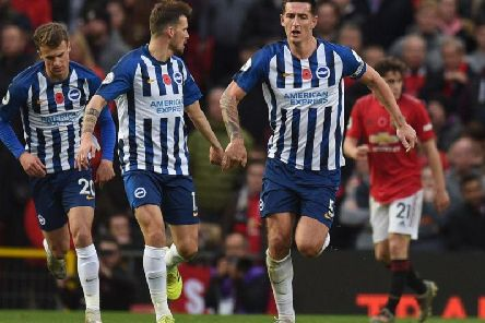 Brighton and Hove Albion skipper Lewis Dunk made it 2-1 but Manchester United ran out comfortable 3-1 winners at Old Trafford