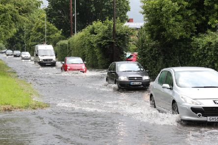 Flooding on a Sussex road