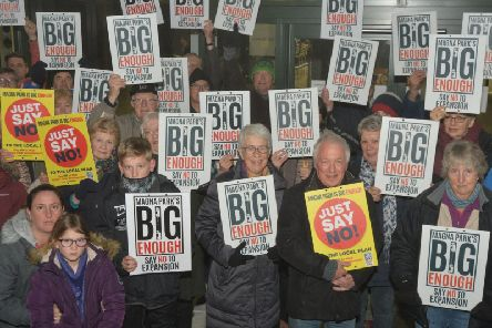 Protesters outside the planning meeting in January 2018