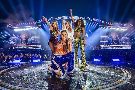 Geri Horner, Emma Bunton, Melanie Brown and Melanie Chisholm of the Spice Girls in concert at Croke Park in Dublin. Picture: Andrew Timms/PA Wire